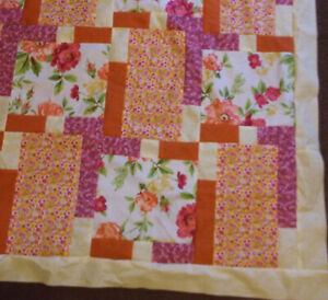 FLORAL QUILT TOP binding handcrafted patchwork 54 x 70 new pink orange yellow