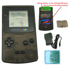 Clear Black Rechargeable Nintendo Game Boy Color GBC Console + Card + Charger