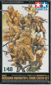 Tamiya WWII Russian Infantry & Tank Crew 1/48 32521, 15 Figures & Machine Gun ST