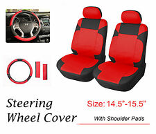 """2 Car Seat Covers 15"""" SW PU Leather Compatible to Honda 853SW Bk/Red"""