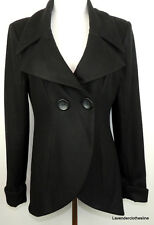 bebe Womens M Black Wool Blend Hi Lo TUXEDO Cut Away Hemline Trendy Pea Coat