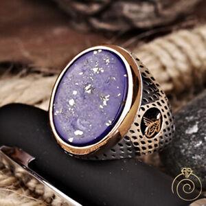 Lapis Lazuli Blue Engraved Men Ring Custom Heraldic Signet September Birthstone
