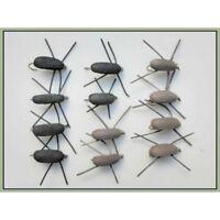 Beetle Trout Flies, 12 Black & Brown Gum Beetles, Mixed 10/12/14, Fly Fishing