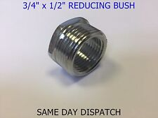 "Chrome Shower Hose Reducing Bush 3/4"" to 1/2"" BSP Chrome Plated Brass Adaptor"