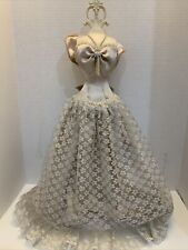 Victorian Mannequin Dress Form Wooden Miniature Wired Petticoat Lace Satin 24
