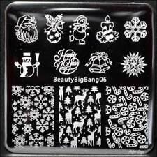 Nail Art Stamping Plates Image Plate CHRISTMAS Santa Snowflakes Candy Cane BB06