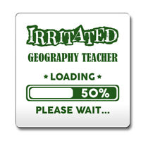 Green Irritated Geography Teacher Loading Funny Gift Idea Coaster work 092