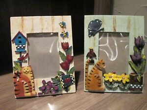 2 Photo Frames 3D Ceramic Cat Kitten Flowers Garden Picture Frame Country