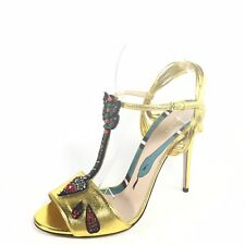 Gucci Womens Size Euro 39 Gold Heel T-strap Dress Ankle Strap Sandals