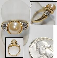Faux Pearl Ring, Large 10mm Solitaire,18K GE, White Baguette Crystal Accents 9.5