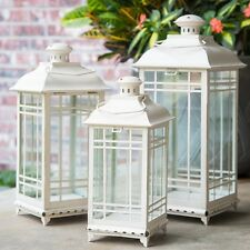 White Metal Lanterns Candle Hanging Decor Classic Set of 3
