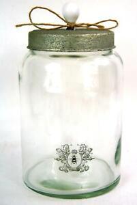 Storage Jar Large Clear Glass Vintage style Bee Scroll Emblem Sealed Lid Caniste