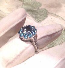 Genuine Aquamarine Real BlueTopaz Vintage 925 Sterling Silver Ring