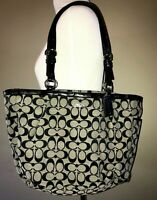 Coach Handbag Purse Navy Leather Trim Canvas Logo Shoulder Bag