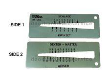 4-In-1 Key Gauge Depth Decoder Locksmith Tool. Schlage Kwikset Master Weiser