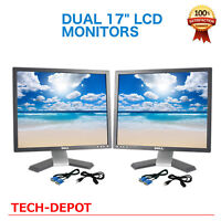 "Dell Dual Ultrasharp 17"" Matching LCD Monitors with cables"