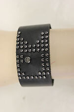 NWOT UNISEX JOE'S JEANS LEATHER STUDDED CUFF BRACELET ONE SIZE BLACK