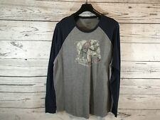 Lucky Brands Mens Navy Gray Bulldog Print Graphic Long Sleeve Shirt Size XXL 2XL