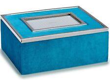 Boite Bijoux Bleu Sarcelle Velours Rectangulaire Avec Personnalisé Cadre Photo