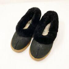 Ugg 6 Solid Black Slip On Slippers Sherpa Lined Comfort Shearling Fur