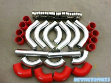 "2"" 51mm Aluminum Turbo Intercooler Piping Pipe Kits+Coupler+Clamp Red 12pcs New"