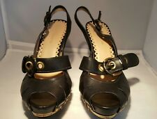 Vince Camuto Black and Studded Gold Women's Shoes Size  38 1/2   8 1/2B