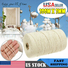 200m Natural B3mm x 200m Macrame Cotton Cord For Wall Hanging Dream Catcher QY
