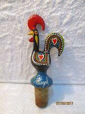 """Bouchon de bouteille décoratif  """" coq """" en métal peint, Portugal"""