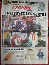 L'Equipe du 10-11/6/1995 - Rugby Coupe Monde avant France-Irlande - Chang