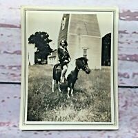 Pretty Well Dressed Woman Riding Horse Old Building House VTG Photo Photograph