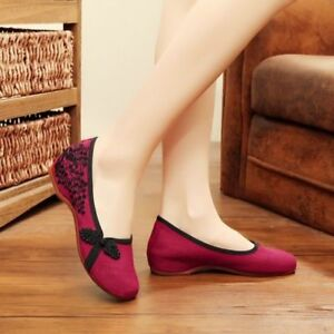 UK Ladies Chinese Embroider Shoes Floral Frog Button Ballerina Flat Loafer PumpS