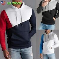 Mens Slim Fit Color Block Hoodies Tops Sports Long Sleeve Sweatshirt Jacket Coat
