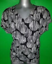 Susan Lawrence Black & White Casual Short Sleeve Blouse Size 8