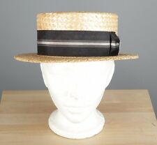Vtg Men's Fashion Custom Made 1920s Skimmer Straw Boater Hat sz 7 Rigid #2824H