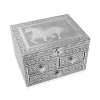 Aluminium Oxidized Horse Embossed 3 Tier Slide Jewelry Organizer Box Storage