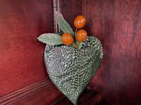 "Pottery Heart Shaped Wall Pocket 6""- Valentine - Vancouver Artist -Small studio"