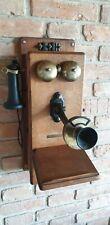 Telefono Antico Antique 1900 STROMBERG-CARLSON Telephone Hand Crank Wall Box Oak