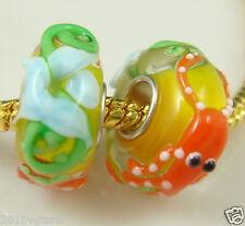 20pcs SILVER MURANO GLASS BEAD LAMPWORK Animal fit European Charm Bracelet de2