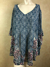 Style & Co. 8435 Size XL Womens Blue Printed Blouse Top Sheer Pull Over