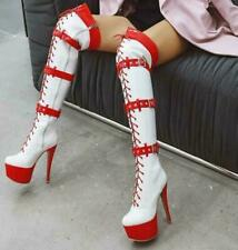 Sexy Women's High Heel Stilettos Platform Patent Leather Over Knee Boots Shoes