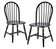 Winsome Wood Assembled 36-Inch Windsor Chairs with Curved legs, Set of 2, Black