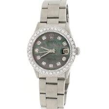 Rolex Oyster Date 31mm Womens 6466 w/Tahitian MOP Diamond Dial & 1.52Ct Bezel