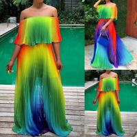 Women Boho Gradient Ruffle Chiffon Cold Shoulder Maxi Pleated Dress Long Dresses