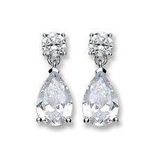 Silver CZ Tear Drop Earrings,Butterfly Stud, SER0333