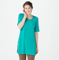 Every Day by Susan Graver Regular Liquid Knit Tunic w/ Slits - Teal Plunge - XL