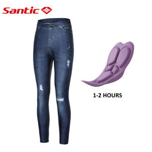 Women's Cycling Pants Imitate Jeans Bicycle 4D Padded Casual Riding Pants