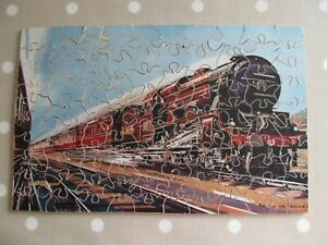 VINTAGE WOODEN JIGSAW OF A LMS RAILWAY ENGINE / TRAIN COMPLETE