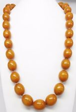"Antique Faturan Butterscotch Amber Bakelite 25mm Knotted Bead 34"" Necklace 260g"