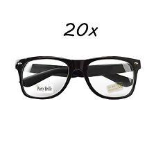 20 Stück Nerd Brille Wayfarer Clear Streber Hornbrille Atzenbrille ohne Stärke