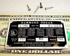 Vintage Hammond Serial Label Logo Plate Peel & Place